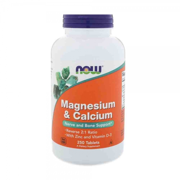 Magneziu Calciu Zinc si vit D, Now Foods, 250 tablete 0