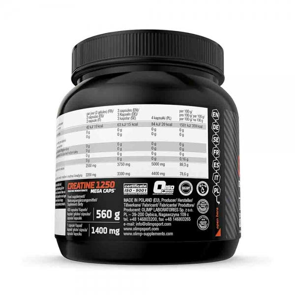 Creatine Mega Caps 1250, 400 Capsule, Olimp Sport Nutrition 2