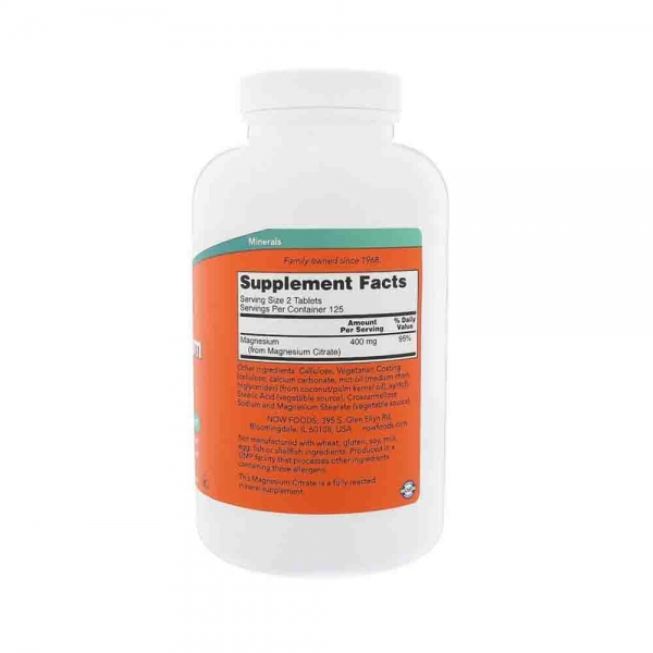 Magnesium Citrate 200mg, Now Foods, 250 tabs 1